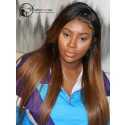 Pre Plucked Hairline With Baby Hair Brazilian Virgin Hair Ombre Color 1B/30# Silky Straight 360 Lace Wig [360LW32]
