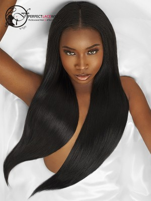 Pre Plucked Natural Hairline Yaki Straight Brazilian Virgin Hair 360 Lace Wigs [360LW13]