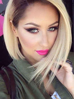 1b/613 Ombre Blonde Brazilian Virgin Human Hair Lace Front Wigs Pre plucked Short Bob wigs With Baby Hair Bleached Knots [LFW24]