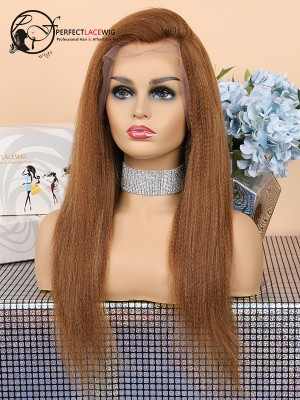 Kinky Straight Color 30 Brazilian Virgin Hair Lace Front Wig [LFW28]