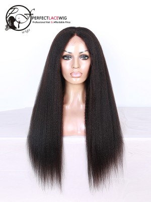 Kinky Straight Brazilian Virgin Hair Middle Part U Part Wigs [UPW05]