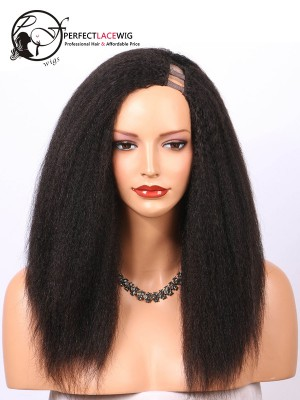 Kinky Straight Brazilian Virgin Hair Left Part U Part Wigs [UPW03]