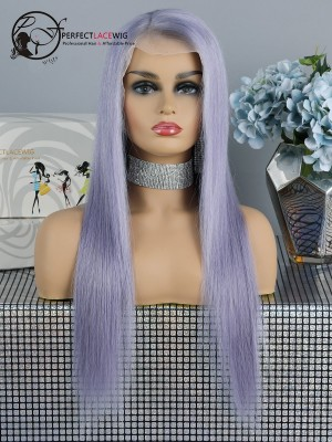 Lavender Hair Color Silky Straight Brazilian Virgin Hair Lace Front Wig [LFW33]