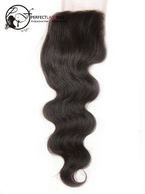 Natural Color Body Wave Brazilian Virgin Hair Middle Part 4*4 Lace Closure[LC01]