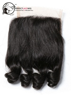Natural Color Bouncy Curl Brazilian Virgin Hair Middle Part 4*4 Lace Closure[LC02]