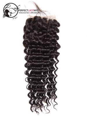 Natural Color Deep Wave Brazilian Virgin Hair Middle Part 4*4 Lace Closure[LC05]