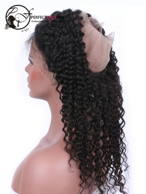 Natural Color Curly Brazilian Virgin Hair 360 Lace Frontal Closure[360FW04]