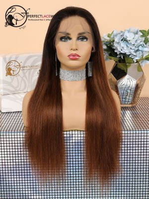 Natural Straight Ombre Brown Human Hair Lace Front Wig [LFW43]
