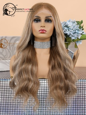Pre Plucked Bleached Knots Color Mixture Brazilian Virgin Hair Body Wave Lace Front Wig [LFW03]