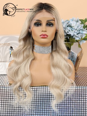Pre Plucked Bleached Knots Ombre Blonde Body Wave Brazilian Virgin Hair Lace Front Wig [LFW05]
