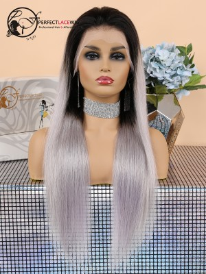 Pre Plucked Bleached Knots Silky Straight Ombre Platinum Grey Color Brazilian Virgin Hair Lace Front Wig [LFW04]