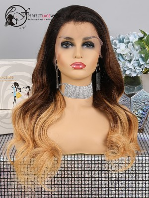 Pre Plucked Body Wave Ombre Three Tone Color Brazilian Virgin Hair Lace Front Wig [LFW31]