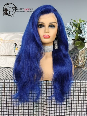 Pre Plucked Brazilian Virgin Human Hair Body Wave Ombre Color Dark Blue Lace Front Wig [LFW36]