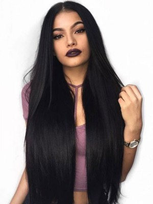 Pre plucked Hairline Brazilian Virgin Hair Lace Front Wig Silk Straight Human Hair Wigs [LFW21]
