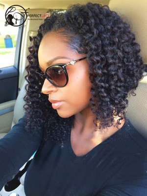 Pre Plucked Kinky Curly Malaysian Virgin Hair Bob Style 360 Lace Wig [360LW09]