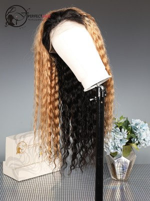 Pre Plucked Loose Curly Ombre Blonde #1B27 360 Lace Wig Human Hair [360LW41]