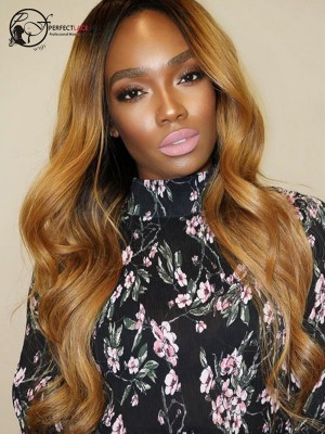 Pre Plucked Ombre Blonde Body Wave Brazilian Virgin Hair 360 Lace Wig [360LW46]