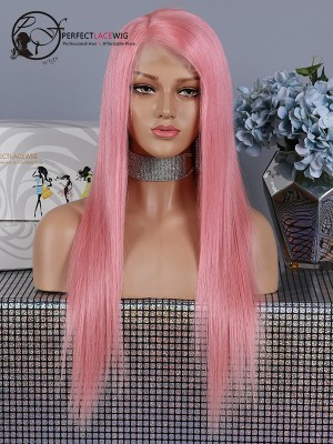 Pre Plucked Pink Silky Straight Brazilian Human Virgin Hair Lace Front Wig [LFW32]