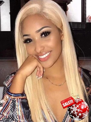Pre plucked Silk Straight 613 color Blonde Brazilian Virgin Hair Lace Front Wig [LFW22]