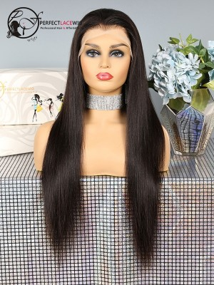 Fake Scalp Silky Straight Human Hair Lace Front Wig [FSL01]