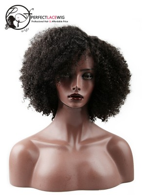 Short Bob Style African Curl Brazilian Virgin Hair Middle Part U Part Wigs [UPW02]