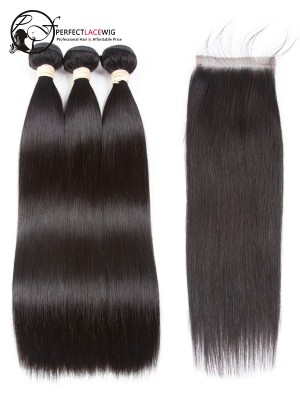 Silk Straight Brazilian Virgin Hair 3 Bundles with Lace Closure [W02]