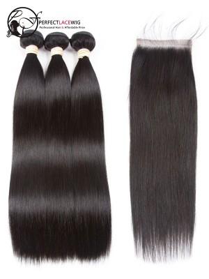 Silk Straight Brazilian Virgin Hair 3 Bundles with Lace Closure [W02]