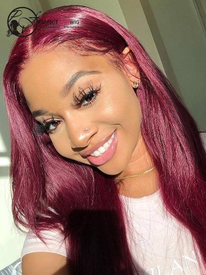 Silky Straight 99J Color Lace Front Wigs Brazilian Virgin Hair Wigs With Baby Hair [LFW23]