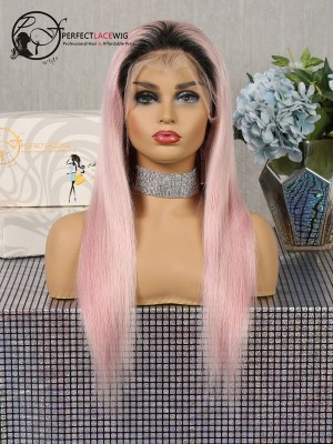 Silky Straight Black To Pink Ombre Human Hair Lace Front Wig [LFW44]