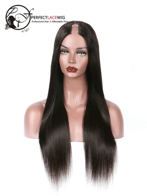 Silky Straight Brazilian Virgin Hair Middle Part U Part Wigs [UPW04]