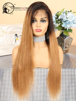 Silky Straight Ombre 1B/27 Color Indian Virgin Hair 360 Lace Wig [360LW28]