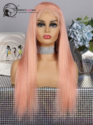 Silky Straight Rose Golden Brazilian Virgin Hair Lace Front Wig [LFW39]