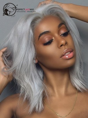 Sliver Grey Bob Human Hair Lace Front Wig [LFW42]