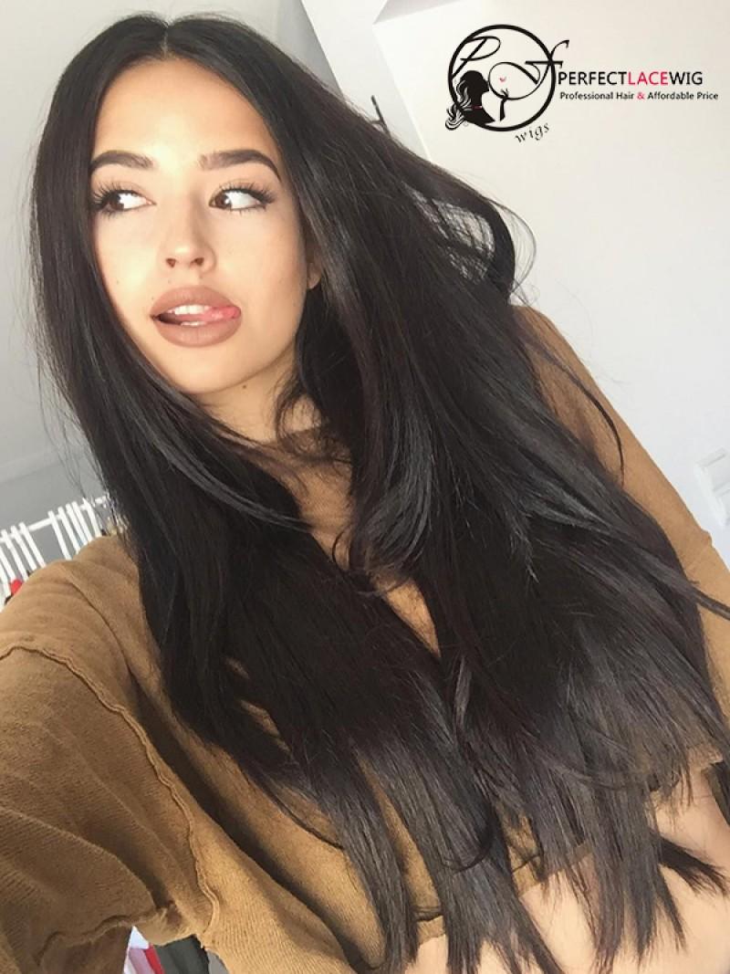 Pre-plucked Brazilian Human Virgin Hair Wigs For Black Womens Silk ... da53e78d0d